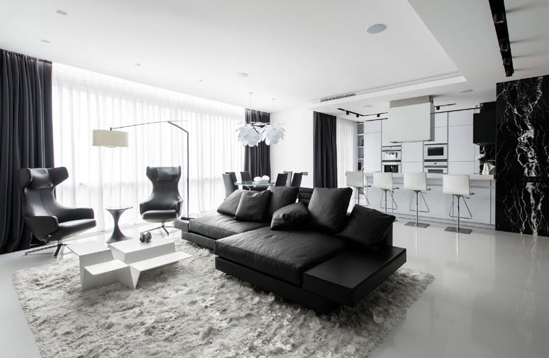 Stunning Black and White Apartment in Moscow   Home Design Lov