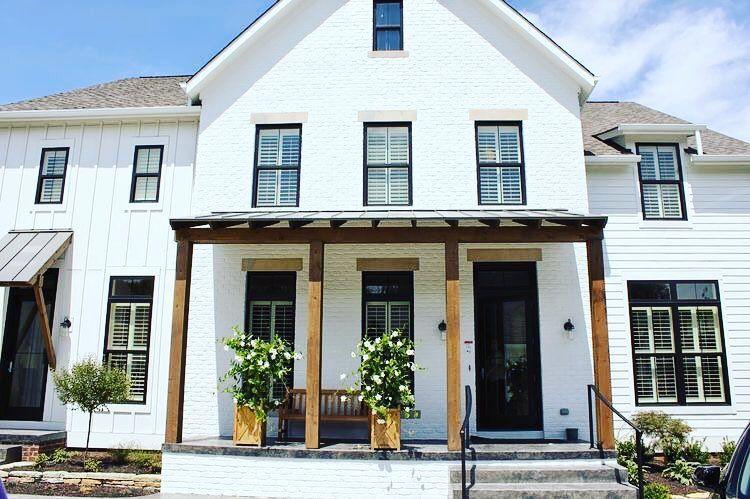 White house, black windows   Modern farmhouse exterior, House .