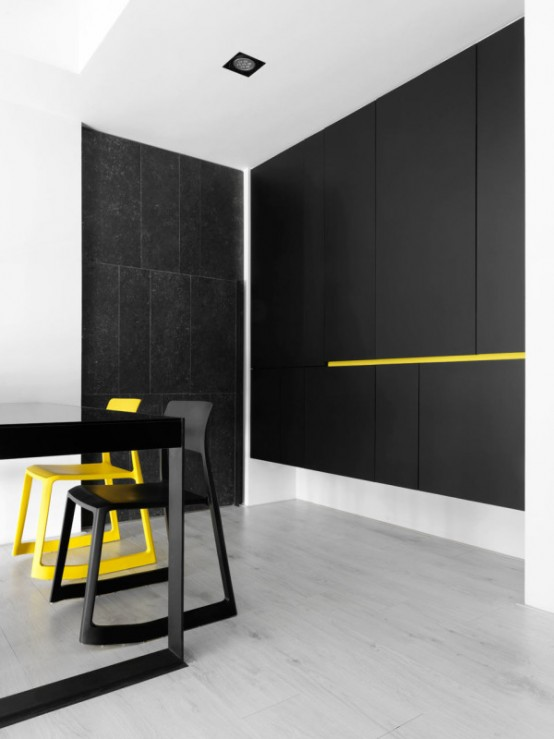Black And White Minimalist Apartment With Pops Of Yellow - DigsDi