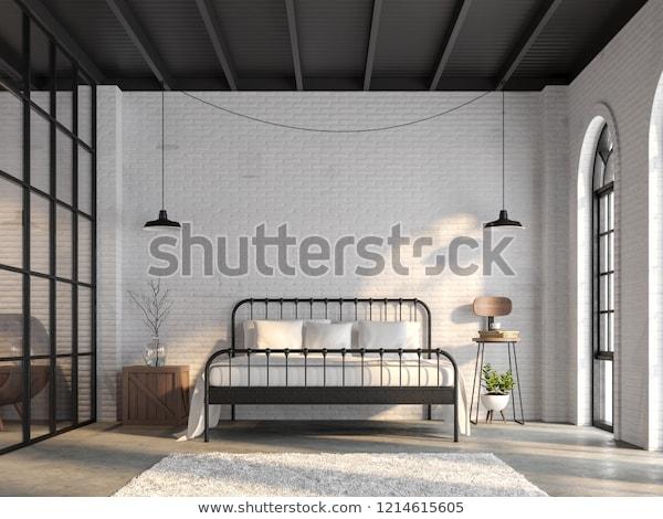 Industrial Loft Bedroom 3d Renderthere White Stock Illustration .