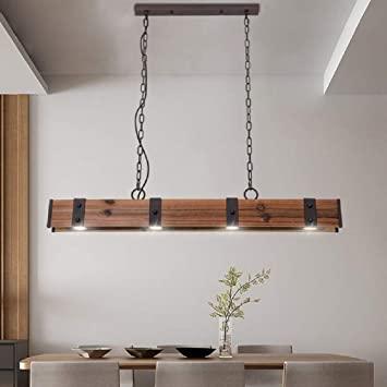 KunMai Industrial Loft Style 4-Light LED Linear Rust/Black Wood .