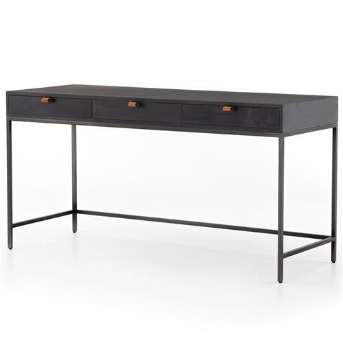 Theodore Industrial Loft Black Wood Iron 3 Drawer Desk | Kathy Kuo .