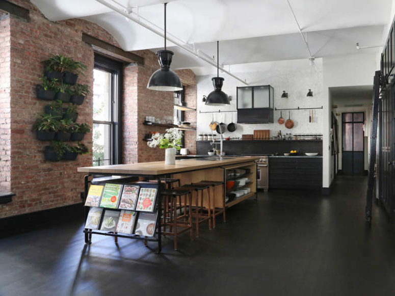 Industrial Loft With Exposed Brick Walls And Black Wood - DigsDi