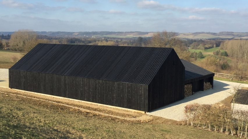 Black barn built by Macdonald Wright at Caring Wood country hou