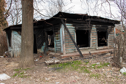 Burnt Wooden Country House Country Residence After A Fire Black .