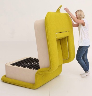 Flop armchair folds out into a cozy bed - Planet Custodi