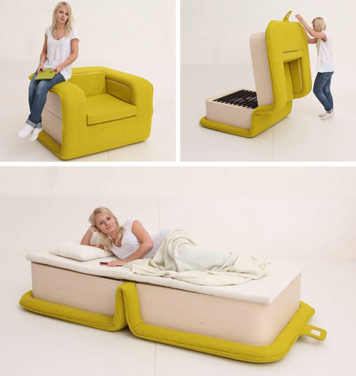 Flop Chair By Elena Sidorova Foldable Seating Unit In Bold Yellow .
