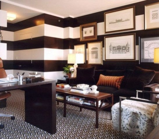 Horizontal Striped Walls Ideas | absolutely love the bold black .