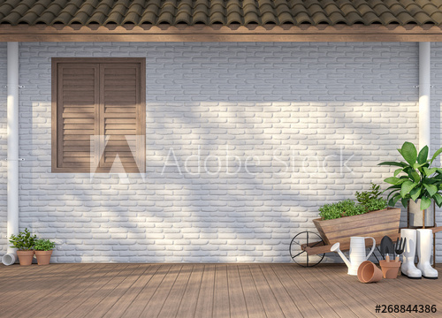 House terrace with garden equipment 3d render,There are empty .