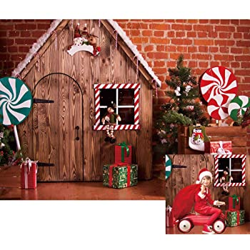 Amazon.com : Allenjoy Christmas Winter Brick Wall Wood House .