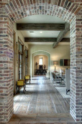 Floor, brick, beams | House design, House styles, Hou