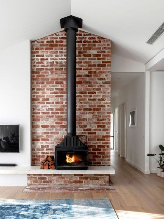 Home Wood Burning Stove In Red Brick Wall in 2020 | Edwardian .