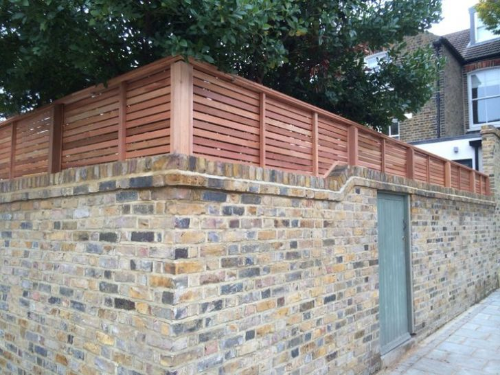 Good brick wall with fence panels ideas. High house gate with .