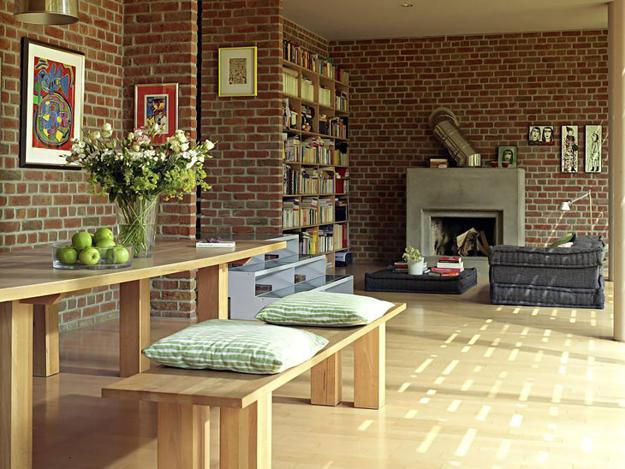 Modern House Blending Exposed Brick Wall Designs and Oriental .
