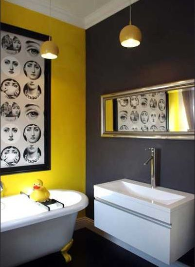 Dark and bright colors bathroom paint | Home Interiors | Yellow .