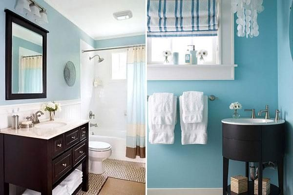 Bathroom Decorating in Blue-Brown Colors, Chocolate Inspiration .