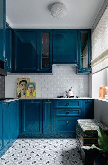 45+ ideas kitchen ideas bright colors interiors   Small apartment .