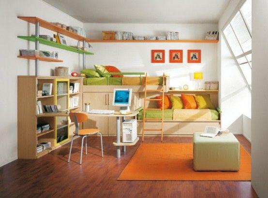 Bright Kids Room Ideas from Sangiorgio Mobili | Diseños dormitorio .