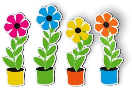 Amazon.com: AK Wall Art Flowers in Pots Cute Set of 4 - Magnets .