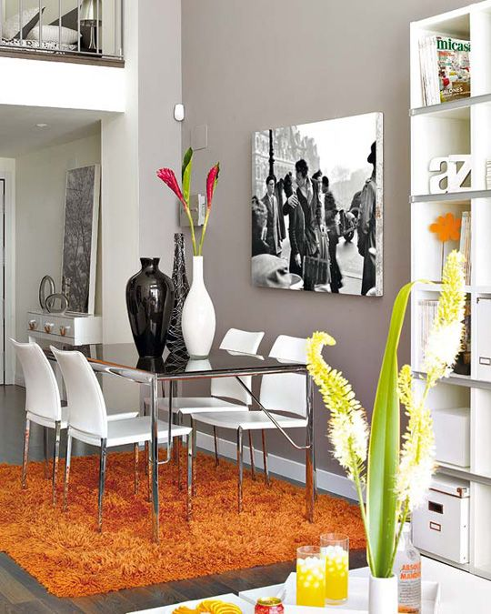 A little loft brightly colored   Apartment interior decorating .