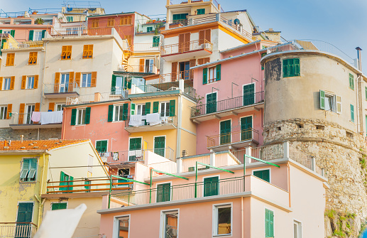 Brightly Colored Tiered Apartments Typical Of Coastal Italian .