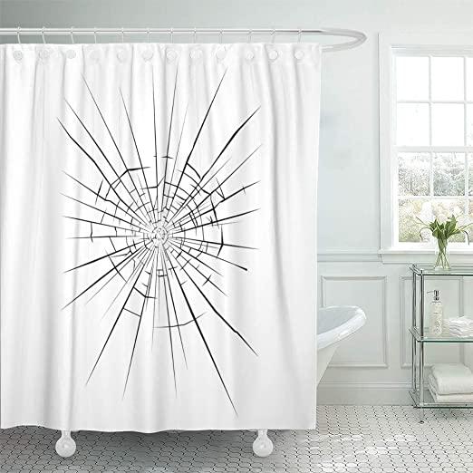 Amazon.com: Semtomn Shower Curtain Fracture Break Crack Broken .
