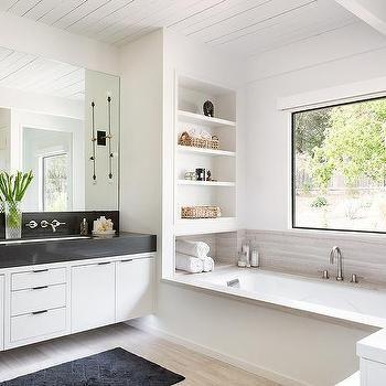 Built In Shelves Over Drop In Bathtub | Bathroom remodel cost .