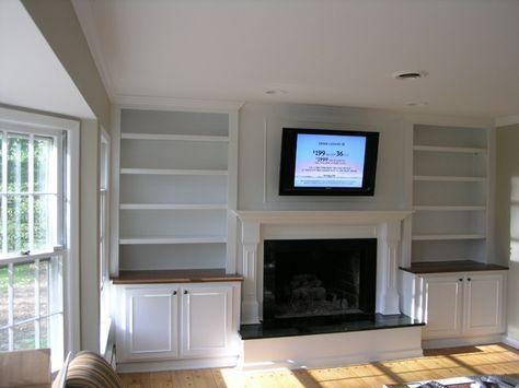 built-in shelves around fireplace | built in bookshelves around .