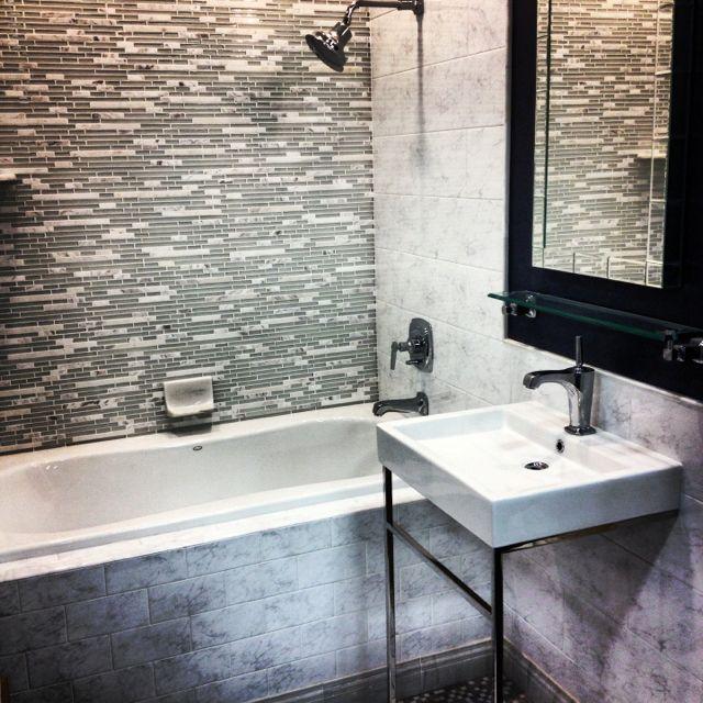 Carrara Marble & Glass Mosaic #tile | Bathroom inspiration, Shower .