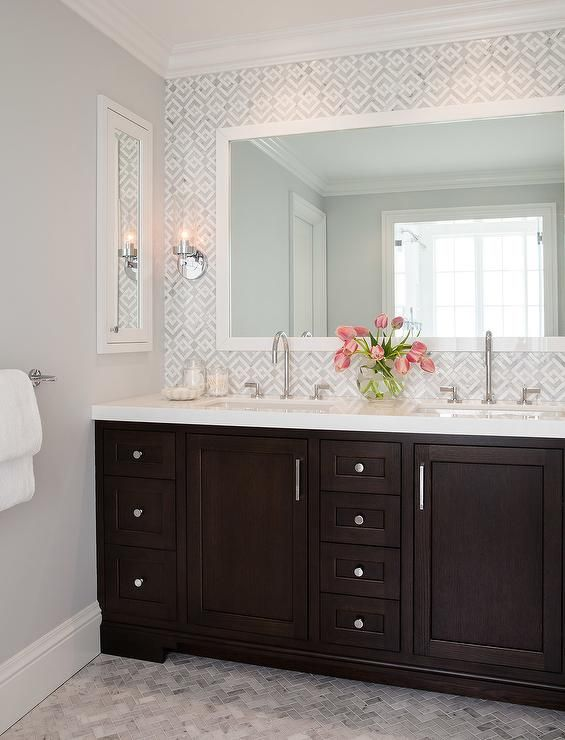 Geometric Marble bathroom Backsplash, Transitional, Bathroom .