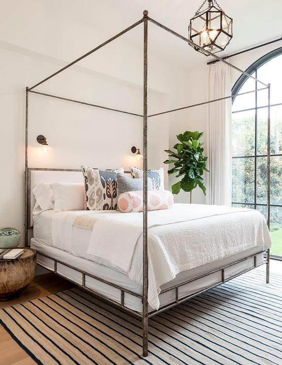 Oly Studio Marco Bed Metal Canopy Bed With Striped Rug Bedroom .