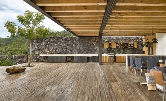 Cascading Mexican House Embedded In A Hilltop Setting .