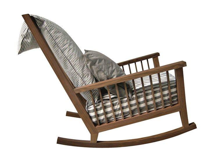 Rocking iroko garden armchair INOUT 709 By Gervasoni design Paola .