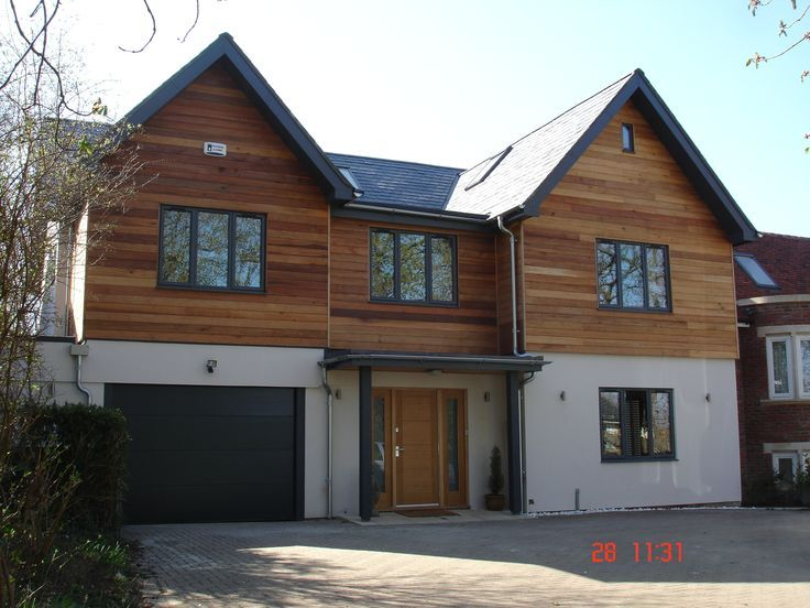 white house wood cladding - Google Search | Exterior house remodel .