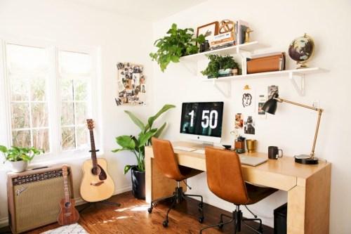 43 Charming Vintage Home Office Decoration Ideas - ROUNDEC