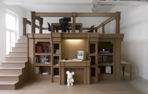 Cheap Modern Office Made Of Cardboard / design bookmark #