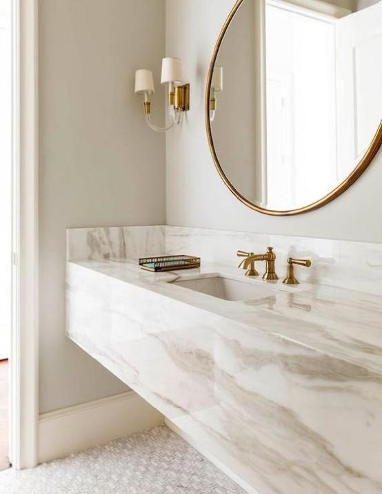 35 Chic And Bold Brass Home Décor Ideas | Bathroom sink design .