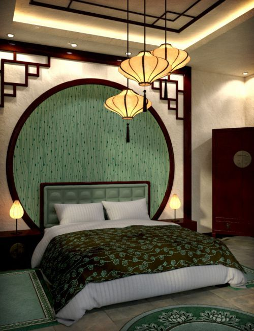 Modern Chinese Bedroom. Love the idea of the dark crown molding .