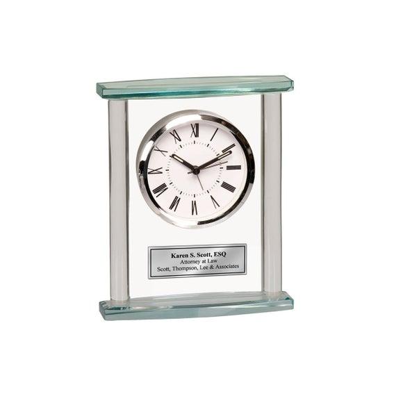 Table Top Desk Clock Silver Engrave Shelf Personalize Time   Et