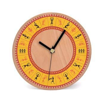 Warli Time Wooden 2 in 1 Table cum Wall Clock by Engrave - Engrave .