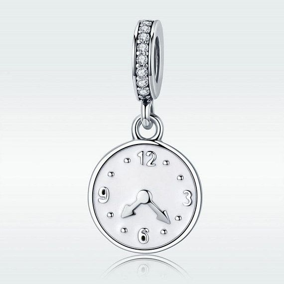 Happy Time Engrave Clock Pendant Charm Bead Fit Authentic Pandora .