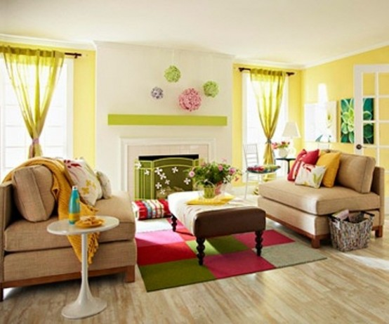 33 Colorful And Airy Spring Living Room Designs - DigsDi