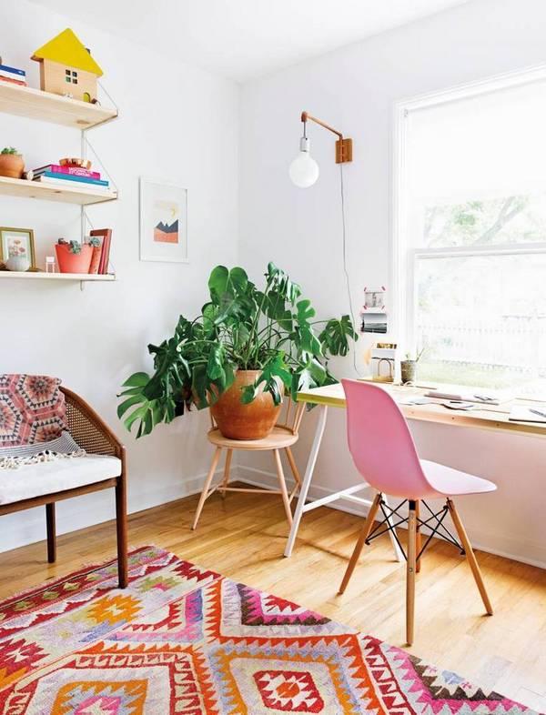 Minimal apartment inspiration: Colorful workspace via Domino Mag .
