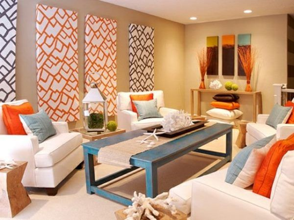 Neutral Accent Color for Minimalist House   Colourful living room .