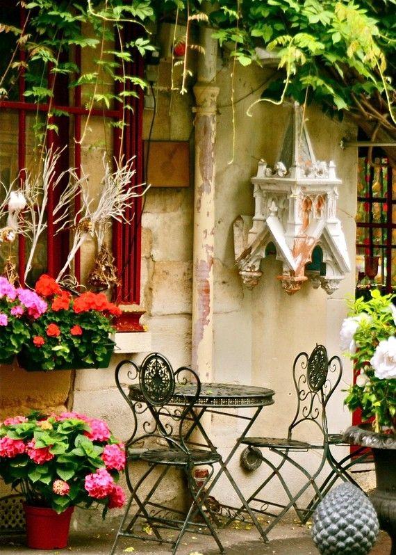 Au Vieux Paris Photography Print - Colorful French Cafe Photo .
