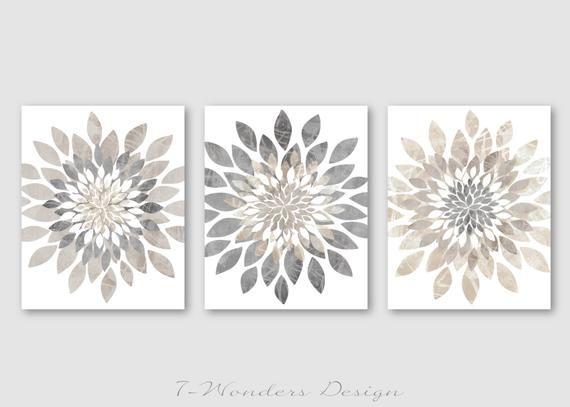 Modern Flower Bursts Neutral Colors Fine Art Print Set of (3) 5x7 .