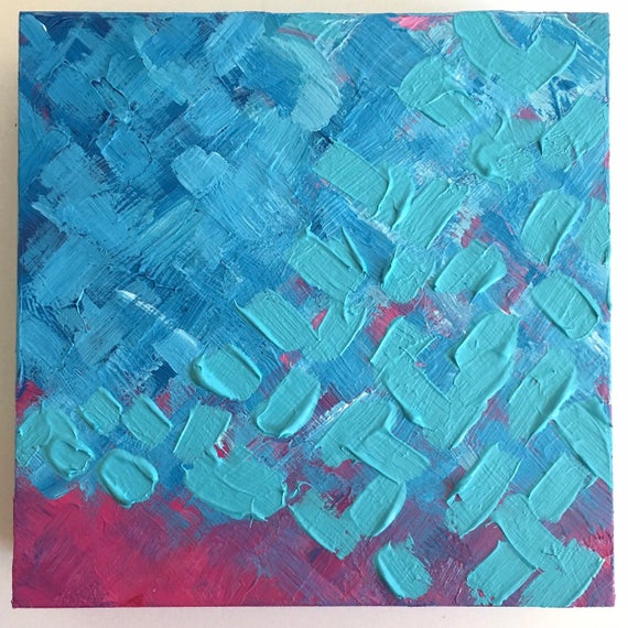 Colorful textured artwork. Abstract acrylic painting on wood | Et