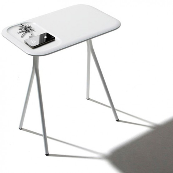 Comfortable Low Scallop Table With Depressions For Storage - DigsDi