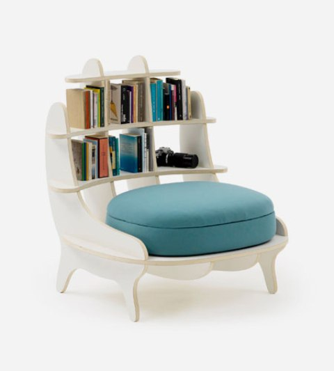 Comfy Chair With Built-In Bookshelves For Book Lovers - DigsDi