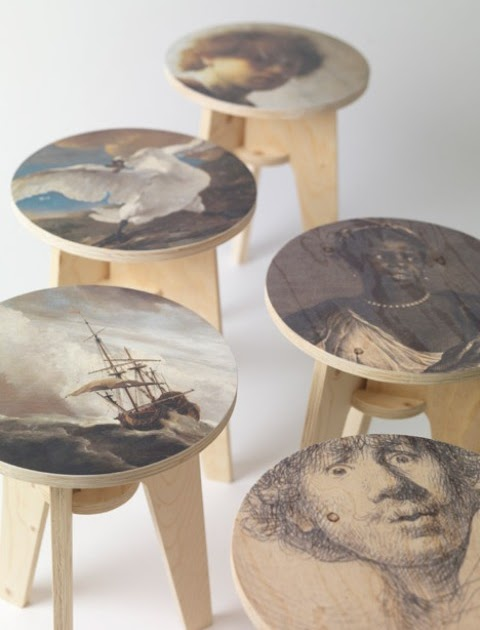 Plywood Print Stool Collection With Dutch Masterpieces - Interior .